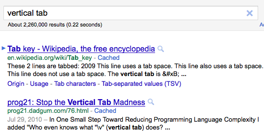 Google search for vertical tab
